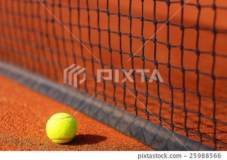 tennis court with tennis ball and antuka 25988566
