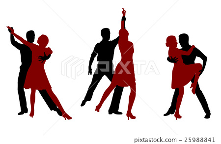 tango dancers silhouettes 25988841