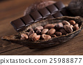 Cocoa pod and cocoa beans on the wooden table 25988877