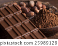 Chocolate bar, candy sweet, cacao beans and powder 25989129