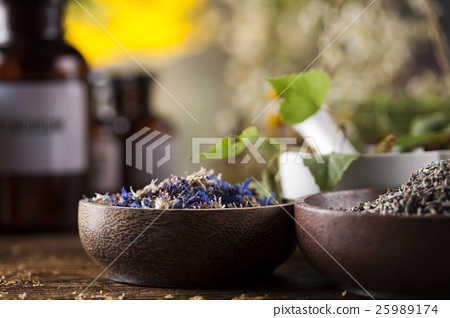 Herbs, berries and flowers with mortar 25989174