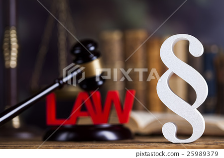 Paragraph, law theme, mallet of judge 25989379