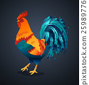 Vector illustration bright rooster on a black 25989776