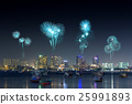 Fireworks over Pattaya beach at night, Thailand 25991893
