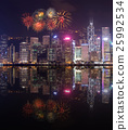 Fireworks Festival over Hong Kong city 25992534
