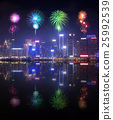 Fireworks Festival over Hong Kong city 25992539