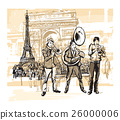 Musicians in front of Eiffel tower in Paris 26000006