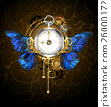 clock with blue butterfly wings 26000172