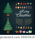 Christmas tree set with decorative Xmas objects. 26003616