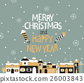 Winter town with greeting. 26003843