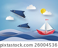 Origami made dolphin and sailing boat  26004536