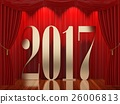 New year 2017,3d rendering of 2017 on stage 26006813