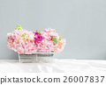 floral basket on the tablecloth 26007837