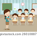 classroom with teacher and pupils 26010887