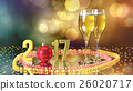 Happy new year 2017 with champagne and confetti 26020717
