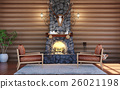 Room interior in log cabin with stone fireplace 26021198