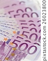 Vertical isometric stack of money with 500 euro 26023800
