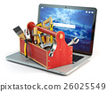 Online support. Laptop and toolbox with tool  26025549