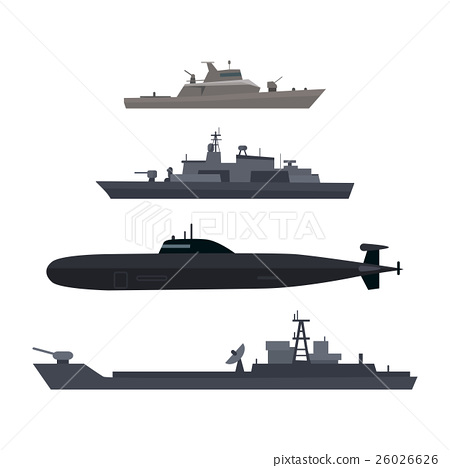 Naval Ships Set Military Ship or Boat Used by Navy 26026626