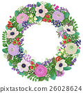 Wreath with buttercup and  anemone. 26028624