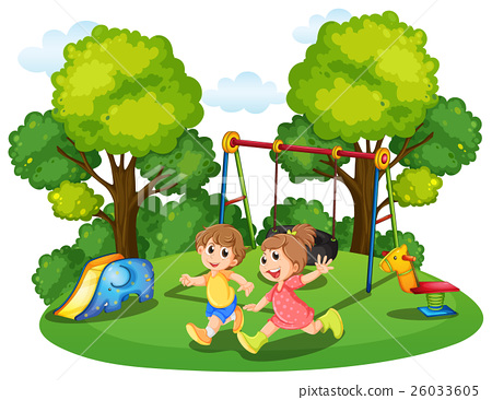 Two kids running in the park 26033605