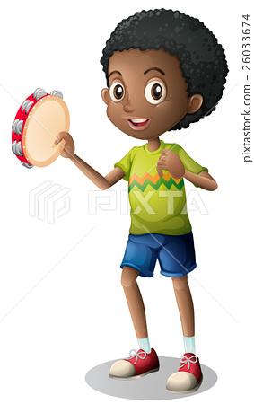 Little boy playing tambourine 26033674