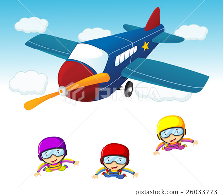 Three sky divers jumping out the airplane 26033773