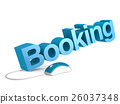 Booking word with blue mouse 26037348