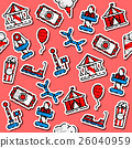Colored Amusement park pattern 26040959