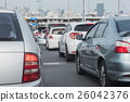 traffic jam with row of cars 26042376