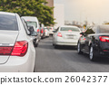 traffic jam with row of cars 26042377