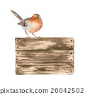 Wooden sign and robin. Watercolor illustration  26042502