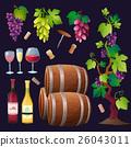Wine set vector. 26043011