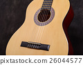 Acoustic classical guitar Close-up deck , strings 26044577