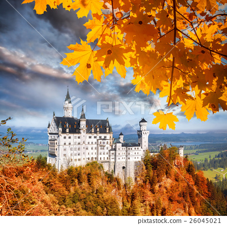 Neuschwanstein castle in autumn, Bavaria, Germany 26045021