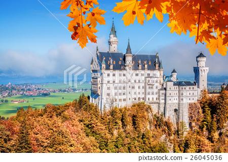 Neuschwanstein castle in autumn, Bavaria, Germany 26045036
