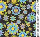 シームレスパターン、レトロでカラフルな花柄 26047979