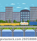 Train moving on bridge background of cityscape 26058886