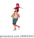 Little daughter sitting on father shoulders and 26062943