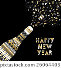 Gold New Year drink bottle fancy party celebration 26064403