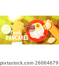 Pancakes Cooking Bright Color Illustration 26064679