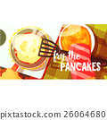 Pancakes Frying Bright Color Illustration 26064680