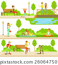 People Spending Time In Park In Summer Set Of 26064750