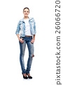 Young and beautiful girl in denim jeans on white 26066720