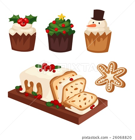 Christmas cake isolated vector icon 26068820
