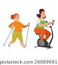 Fat people fitness gym vector 26069091