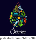 Science vector emblem in shape of water drop 26069284