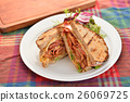 Sandwiches of bacon and herbs on white plate o 26069725