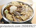 Ginger duck in chinese style in hot pot on the t 26069927