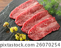 Fresh sliced beef on black rock plate with herb 26070254